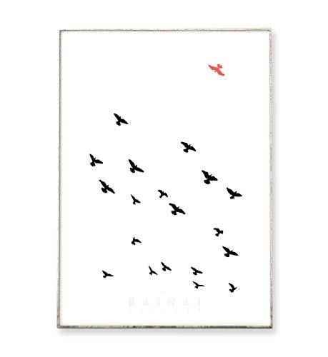 DIN A4 Kunstdruck Poster GEGEN DEN STROM -ungerahmt- Vögel, Bild, abstrakt, minimalistisch, skandinavisch, nordisch