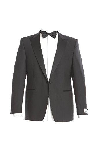WILVORST Smoking Anzug Kantiger Kragen Sakko und Hose Slim Line Schwarz 100% Schurwolle