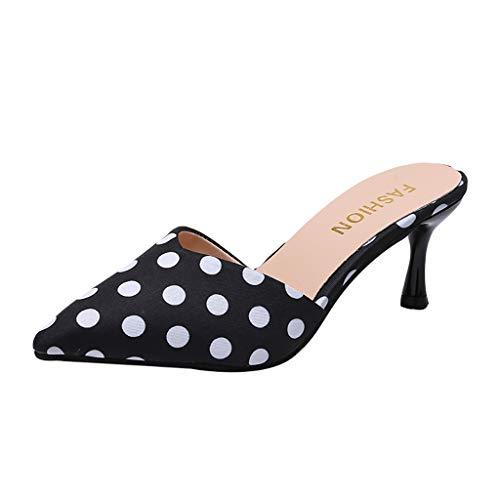 Kolylong® Damen Tupfen Hoher Absatz Sandalen Hausschuhe mit Bowknot Spitze Hausschuhe Schlüpfen Schuhe Stilett Pumpe Slingback Kleid Sandale