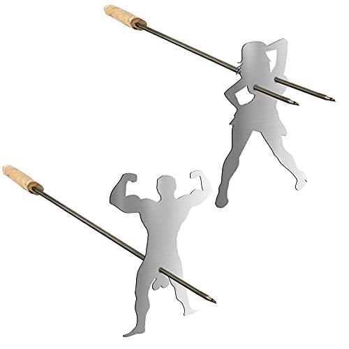 PIVOT 2 Stück Stahl Hot Dog Marshmallow Röster, Neuheit Frauen Männer geformt Edelstahl Lagerfeuer Bratstab, lustige Metall Craft Grillgabeln für Lagerfeuer, Lagerfeuer und Grill (Ohne Gabel)