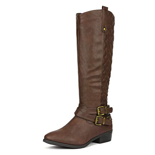 DREAM PAIRS Women's Bar Brown Knee High Boots Size 8.5 B(M) US