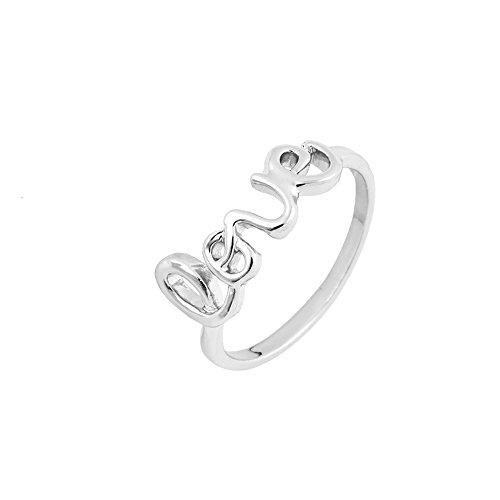 Love Letter Ring Trendschmuck 18 Karat vergoldet/Größe: 53 (Silber)