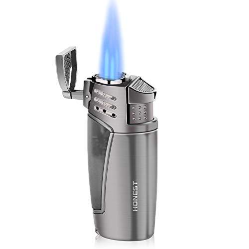 Gas encendedor Cigarrillos, Jet Mechero 3 Llamas Gas Recargable Resistente al Viento Mechero, cigarros, para fumadores(Vendido sin Gas)