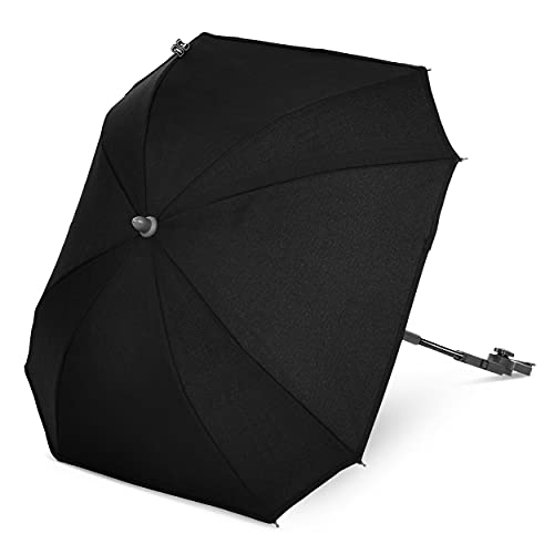 ABC Design Universal Sonnenschirm Sunny – für Kinderwagen und Buggy – UV-Schutz 50+ – Universalhalterung für Rund- und Ovalrohre – Farbe: black