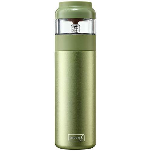 Lurch 240916 Isolierflasche Tee EDS 2 in 1: Thermoflasche und Teezubereiter für grünen und weißen Tee aus doppelwandigem Edelstahl 0,4l, green tea