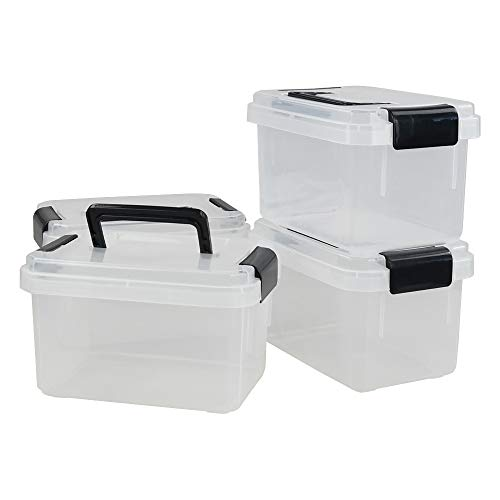 Ortodayes Plastic Storage Boxes 4 Pack Storage Box with Black Handle