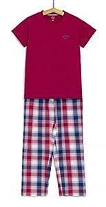 TEX - Pijama 2 Piezas para Niño, Rojo Oscuro, 13-14 años