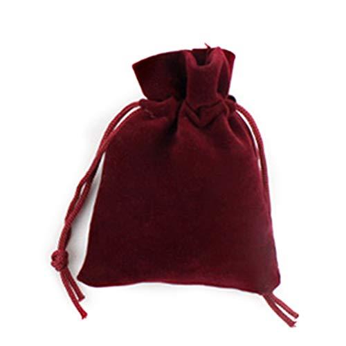 Haodou Organizer-Taschen mit Kordelzug Beutel Stoff Organisatoren Dunkelrot Schmuck Tunnelzug Aufbewahrungsbeutel Wiederverwendbar Waschbar für Ohrringe/Ring/Kopfhörer/Süßigkeit (klein)