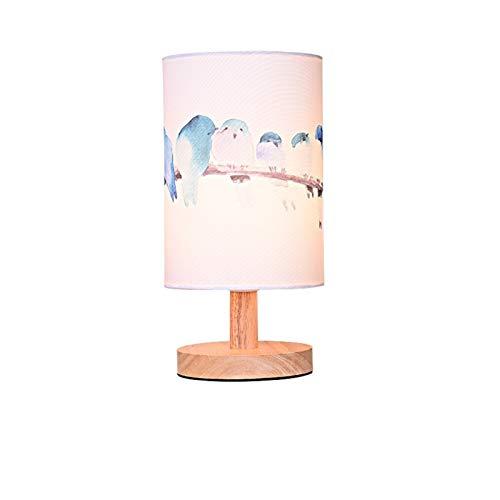 FIRMLEILEI Lámpara de Mesa Mesa de Madera nórdica Tela LED Luces de la habitación de Noche Decoración Pantalla de la Tela luminarias Lámparas de Mesa Decoración Herramientas de iluminación
