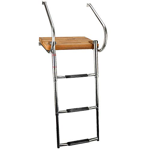 Swim Platform Ladder Teak Stainless with telescoping 3-Step 2 Handrails Marine Boat Dock