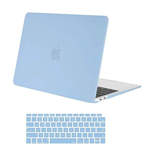 MOSISO Compatible with MacBook Air 13 inch Case 2020 2019 2018 Release A2337 M1 A2179 A1932 Retina Display with Touch ID, Protective Plastic Hard Shell Case & Keyboard Cover Skin, Airy Blue