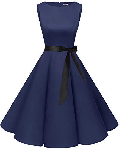 Bbonlinedress 50s Retro Schwingen Vintage Rockabilly Kleid Cocktail Faltenrock Navy L
