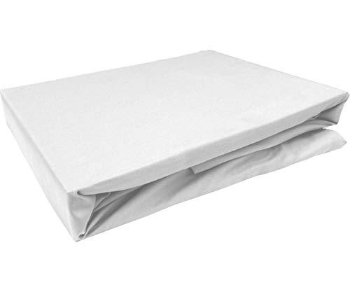 Bettwaesche-mit-Stil Mako Satin Spannbettlaken Spannlaken Spannbetttuch (120 cm x 200 cm, Matratzenhhöhe 21-30cm, Weiß)