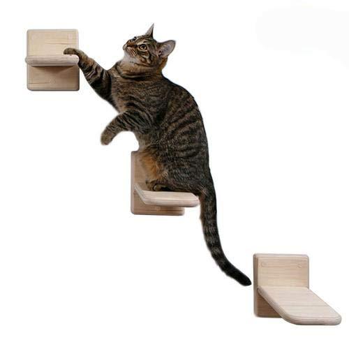 wendaby Kletterwand Katzen 3PCS Katzenwandregal DIY Katzenwand Katzenkletterleiter Kiefernwand Sprungbrett Für Katzen Sprung Plattform Massivholz-Wandkletterrahmen Für Katzen