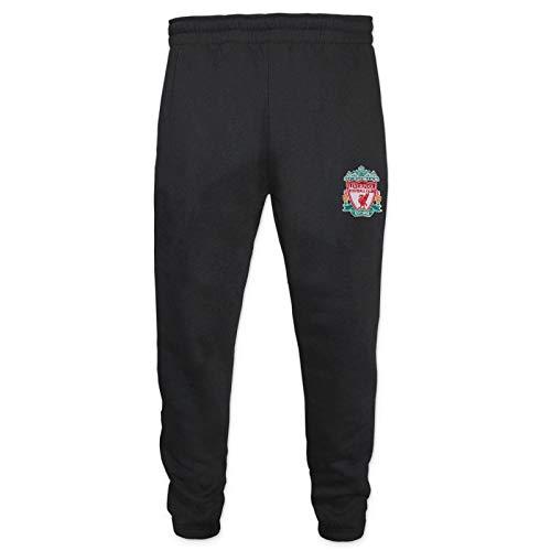Liverpool FC - Jungen Jogginghose Slim Fit - Offizielles Merchandise - Geschenk für Fußballfans - Schwarz mit Vereinswappen - 12-13 Jahre