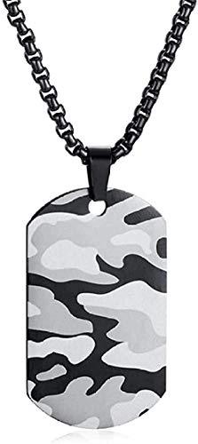 Collar Punk Men S Air Force Camuflaje Acento Etiqueta de perro Collares pendientes Camuflaje de acero inoxidable Ejército militar Niños Joyería de fiesta 24 pulgadas para mujeres Hombres Regalos
