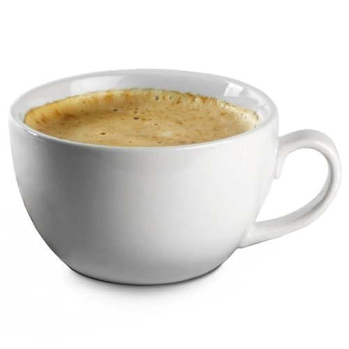 Royal Genware Bowl Shaped Cups 14oz / 400ml - Set of 6 | White Cups, Porcelain Cups, Coffee Cups, Cappuccino Cups, Tea Cups
