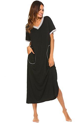 Damen Nachthemd Baumwolle still pyjama lang weich frauen schlafkleid V-Ausschnitt Nachtkleid sommer, Gr.-42,6619_Schwarz, XL