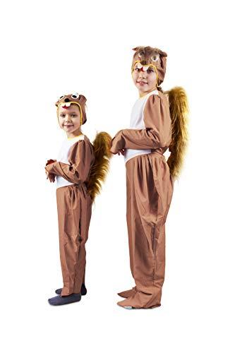 Otuli – Kinderkostüm Tierkostüm Eichhörnchen für Karneval Overall mit Mütze Unisex (122/128)