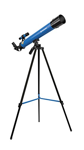 Bresser Junior Linsenteleskop 50/600 AZ mit Stativ zum Beobachten von Mond, Planeten und Tageslichtbeobachtungen inklusive Zubehör, blau