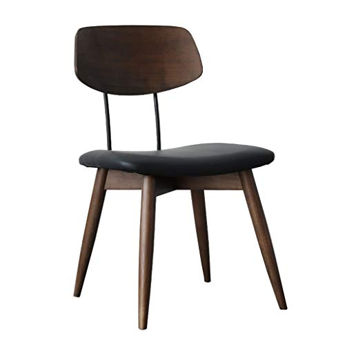 Eetstoel, Massief Houten Stoel Home Eenvoudige Moderne Bureaustoel Zwarte Walnoot Eettafel En Stoelen (Color : Black)