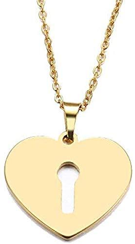 niuziyanfa Co.,ltd Collar de Acero Inoxidable para Mujer, Hombre, Amante, Cerradura de corazón, Colgante de Color Dorado y Plateado, Collar, joyería de Compromiso