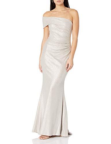 Eliza J Women's ONE Shoulder Long Dress with Side Tucks, CHAMPAGNE, 14 Petite