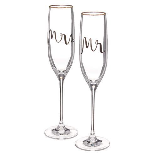KATE SPADE Bridal Party 2-piece Champagne Flute Set, 1.35 LB, Clear