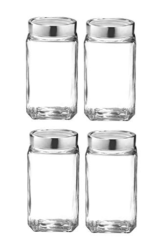 TREO Glass Container- 1000 ml, 4 Pieces, Transparent