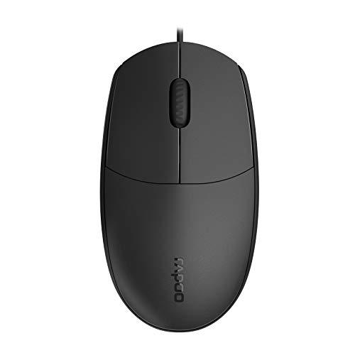Rapoo N100 kabelgebundene Maus, 1600 DPI, Rechts- und Linkshänder für PC / Laptop / Notebook / Computer, schwarz