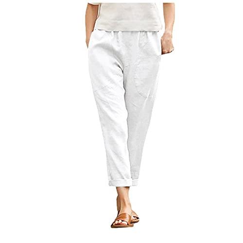 Liably Linen trousers, women's cotton linen elastic drawstring trousers, light high waist, casual elegant summer trousers, leisure jogging bottoms, beach trousers, loose plain harem trousers - - Large