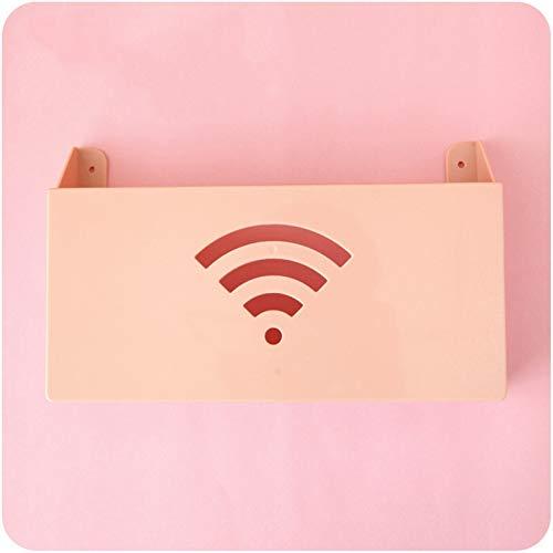 LUHUAPING Estante de cocina agradable Enrutadores Caja de almacenamiento Racks Protection Box Cauger Wall Cable Router Cajas de almacenamiento multifunción Respons Book Storage Holder ( Color : Pink )