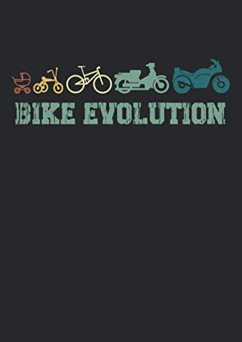 Notizbuch A4 punkte mit Softcover Design: Motorrad Evolution Spruch Bike Evolution Motorrad Fahrer: 120 dotted (Punktgitter) DIN A4 Seiten