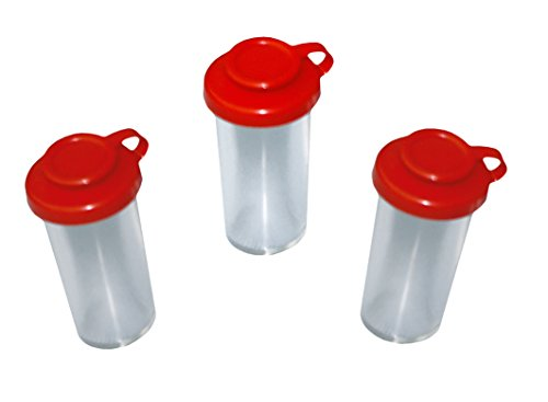 3 Ersatzsalzstreuer für Eierbehälter Eierträger Eierbox 2-fach mit Salzstreuer und Löffel rot/gelb Perfekter Picknick Begleiter DDR Ostalgie