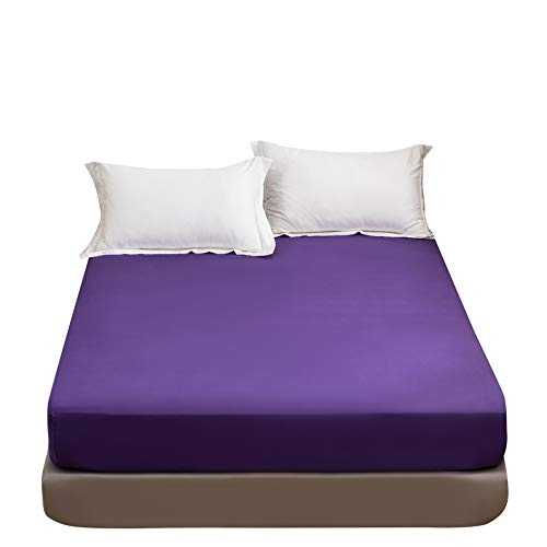 LS Fitted Bottom Sheet Only Premium 1800 Ultra-Soft Fade Resistant Brushed Microfiber Deep Pocket Queen Purple