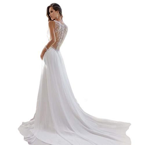 GL SUIT Brautkleid Damen Deep V-Ausschnitt-Spitze-Kleid-Abschluss-Chiffon- Kleid ärmellose Tüll Backless Abend-Cocktail-Lange Maxi Partykleider,Weiß,S