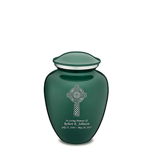 GetUrns Medium Embrace Custom Engraved Celtic Cross Cremation Urn (Green)