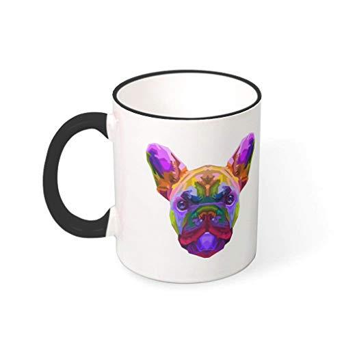 OwlOwlfan Colorido bulldog francés colorido taza de cerámica divertida taza de café taza con mango para el hogar oficina cumpleaños Festival regalo para niños niñas negro 330ml