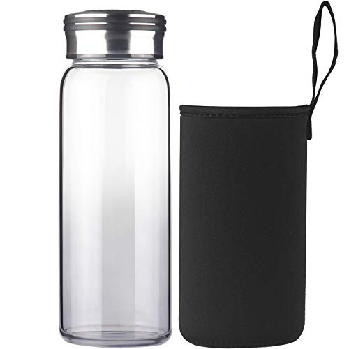 Cleesmil Sport Trinkflasche Glas Wasserflasche 750 ml BPA Free Glasflasche mit Neoprenhülle (Schwarz)