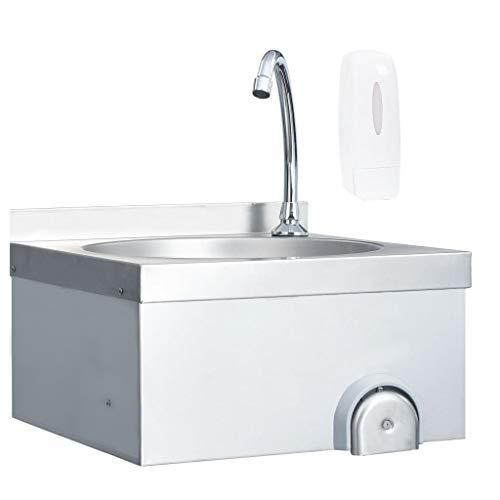 vidaXL Gastro Handwaschbecken mit Wasserhahn Wandmontage Spülbecken Küchenspüle Spüle Gastrobecken Edelstahlspüle Waschtisch Edelstahl