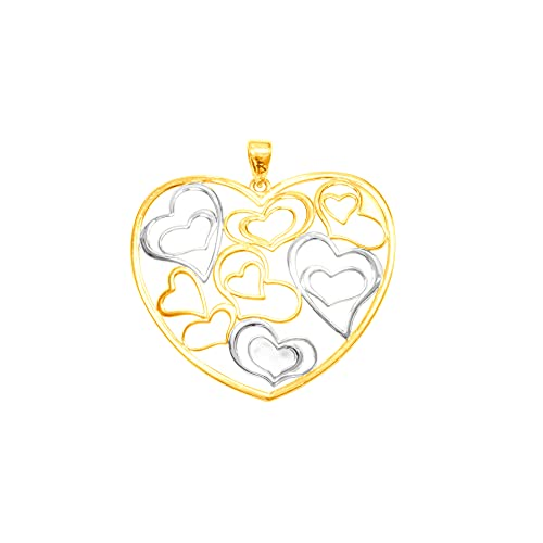 Colgante de oro bicolor 9 kt, corazón 29/32 mm, peso: 1,7 g.
