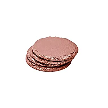 Renee Redesigns Rose Gold Slate Drink Coasters - Protect Your Wood, Granite, Glass, Sandstone, Marble, Stone Surfaces, For Hot & Cold Beverages and Candles, Round - 4 x 4 inches, Set of 4