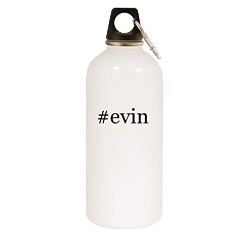 #evin - 20oz Hashtag Stainless Steel White Water Bottle with Carabiner, White
