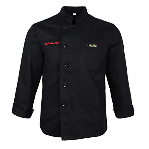 Saoye Fashion Herren Damen Langarm Kochjacke Bäckerjacke Koch Jacke Mantel Uniform Hotel Fiesta Kleidung Küchen Koch Arbeitskleidung (Color : Schwarz, Size : L)