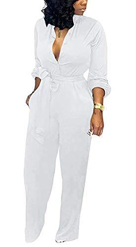 Aro Lora Women's Deep V Neck Long Sleeve Button Down One Piece Wide Leg Jumpsuit Romper Medium White