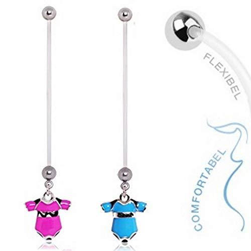 Treuheld® | ZWANGERSJNSTRAMPLER voor de navel - 2 kleuren: blauw & roze - 1,6 x 50 mm rompelpak jongens & meisjes - flexibele, lange navelpiercing f. ZWANGERE - piercing