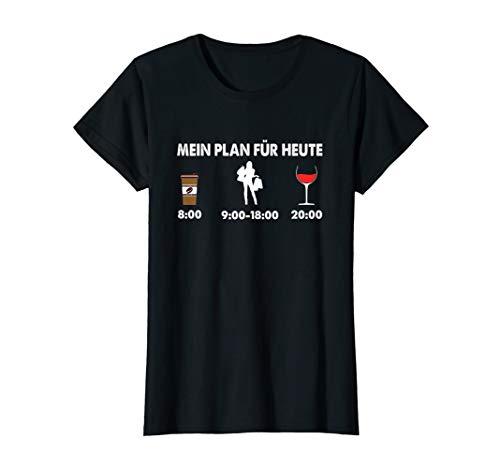 Damen Mein Plan für heute Kaffee shoppen Wein Cooles Frauen T-Shirt