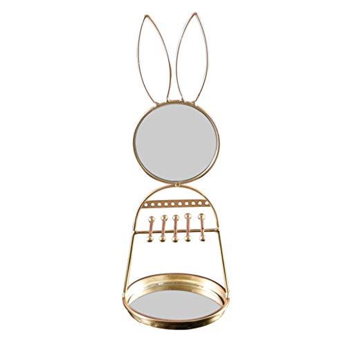 organizador joyas Conejo de Oro marco del espejo joyería pendientes del collar de la cacerola de almacenamiento de exhibición del pendiente de niña de maquillaje Espejo Corazón expositores joyeria