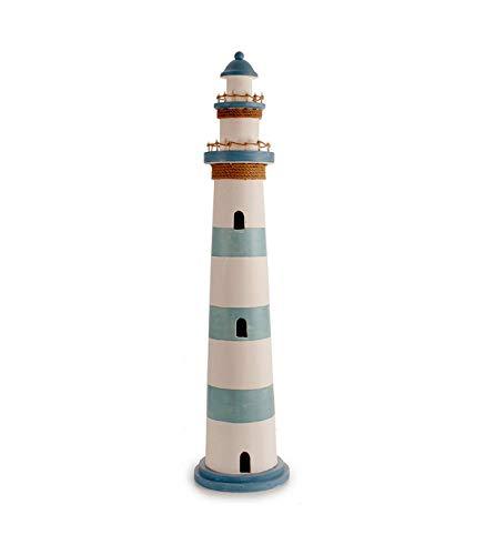 TENDENCIA ÚNICA Figura Decorativa de Madera en Forma de Faro con Luces LED en la Parte Superior. Medidas: 26 x 26 x 115 cm. 11 Leds