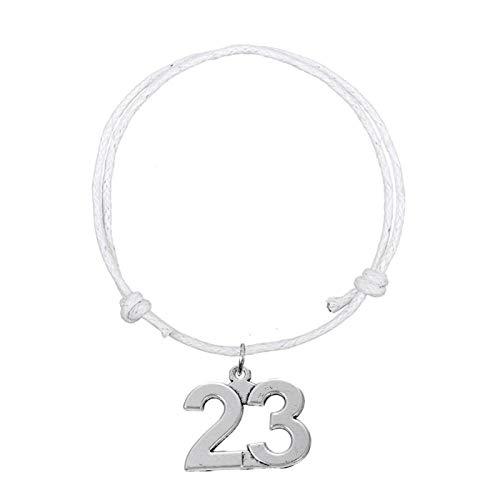 Pulseras de cordón de Cera de Moda 23 Números Charm Ocho Colores Estilo de Moda Blanco